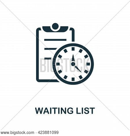 Waiting List Icon. Simple Creative Element. Filled Monochrome Waiting List Icon For Templates, Infog