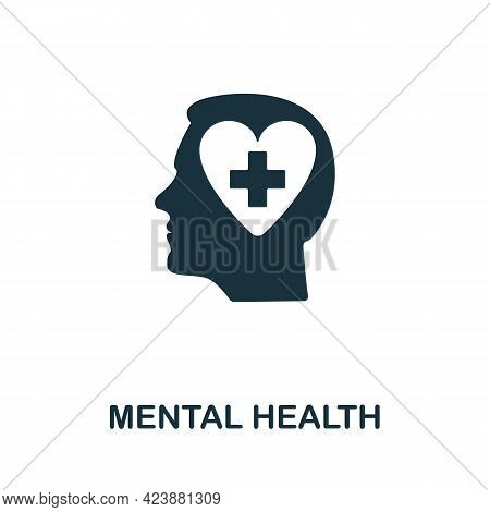 Mental Health Icon. Simple Creative Element. Filled Monochrome Mental Health Icon For Templates, Inf