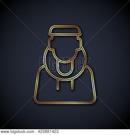 Gold Line Monk Icon Isolated On Black Background. Vector