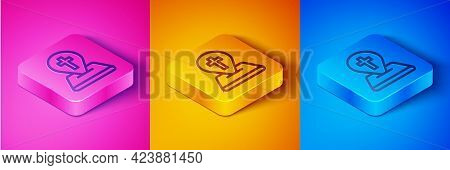 Isometric Line Map Pin Church Building Icon Isolated On Pink And Orange, Blue Background. Christian