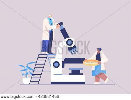 Research Scientist Team Working With Microscope Researchers Making Chemical Experiment In Laboratory