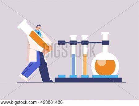 Scientist Working With Test Tube Man Researcher Making Chemical Experiment In Laboratory Molecular E