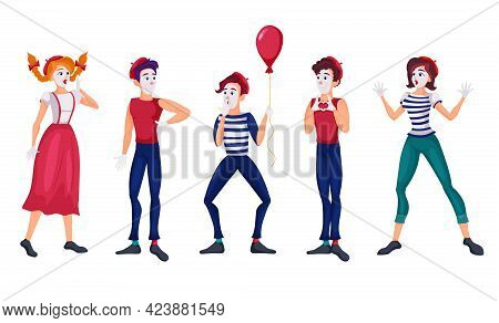 Cartoon Mimes Vector Flat Illustrations Set. Theatre People In Costumes, Silent Acting, Actors Or Co