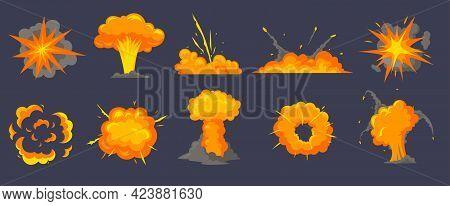 Different Explosions Cartoon Vector Illustrations Set. Explosive Substances, Smoke From Crash, Bang,