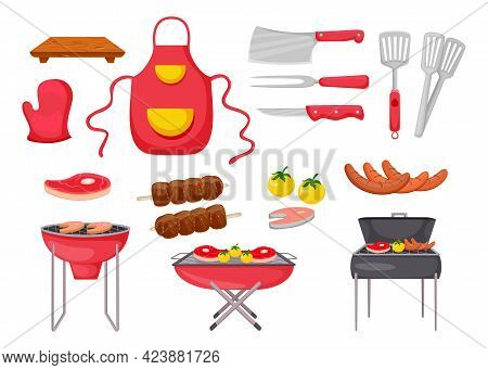 Ingredients And Tools For Barbecue Vector Illustrations Set. Fish, Meat And Vegetables On Grill Grid
