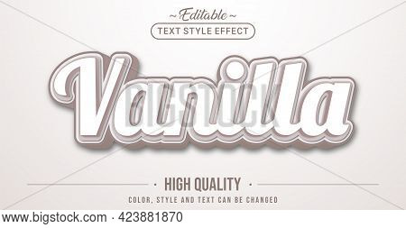 Editable Text Style Effect - Vanilla Text Style Theme. Graphic Design Element.