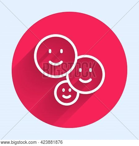 White Line Happy Friendship Day Icon Isolated With Long Shadow. Everlasting Friendship Concept. Red