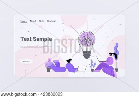 Businesspeople Using Laptops Near Light Lamp With Human Brain Brainstorming Successful Teamwork Crea