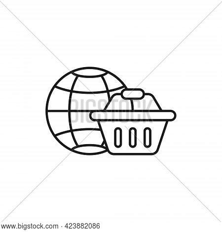 Shopping Cart with Globe icon. Shopping Cart icon. Shopping icon. Shopping Cart with Globe icon vector. Shopping cart icon set. Online Shop icon. Shopping Cart icon. Shopping Cart with Globe design for website, icon, logo, sign, symbol, app UI