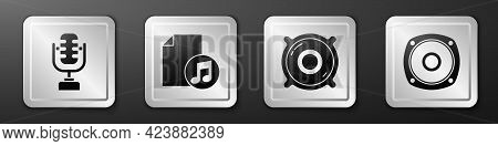 Set Microphone, Music Book With Note, Stereo Speaker And Stereo Speaker Icon. Silver Square Button.