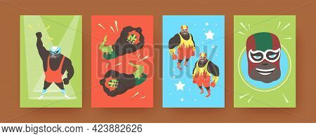 Set Of Contemporary Art Posters With Mexican Wrestler Fighters. Vector Illustration. .colorful Colle