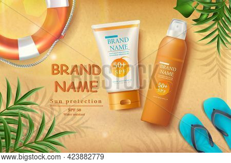 Vector Summer Sunscreen Protection Banner With Sunscreen Bottles On The Sand With Sunbeams And Tropi