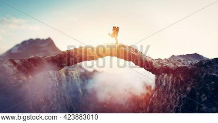 Couple meet halfway on mountain bridge. Love and reunion concept. 3D illustration