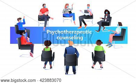 Psychologist Solving Psychological Problem Of Mix Race Patients In Masks Psychotherapeutic Counselin