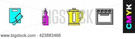 Set Cutting Board And Meat Chopper, Bottle Of Olive Oil, Electric Kettle And Oven Icon. Vector