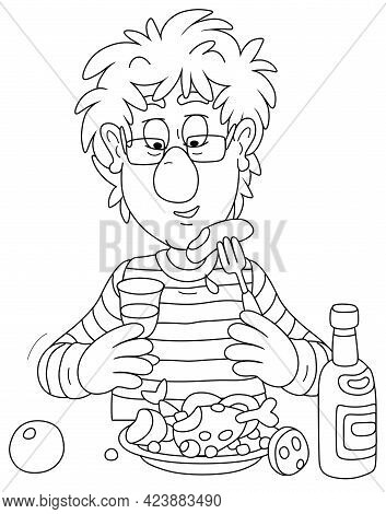 Funny Young Man With Disheveled Hair, Drinking A Glass Of Wine And Having Dinner, Black And White Ou