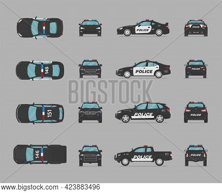 American Police Cars. Side View, Front View, Back View, Top View. Cartoon Flat Illustration, Auto Fo