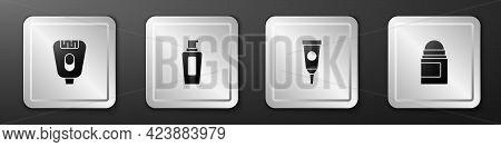 Set Epilator, Bottle Of Shampoo, Cream Lotion Cosmetic Tube And Antiperspirant Deodorant Roll Icon.