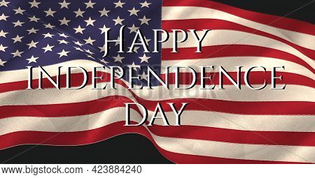 Happy independence day text over waving american flag against black background. american patriotism and independence template design concept