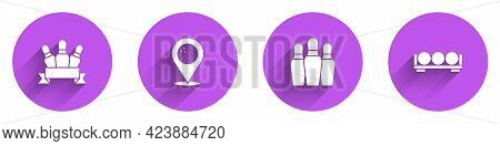 Set Bowling Pin, Location With Bowling Ball, And Billiard Balls Stand Icon With Long Shadow. Vector