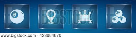 Set Billiard Ball, Location With Bowling, Bowling Pin And . Square Glass Panels. Vector