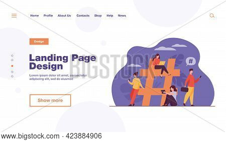 Tiny People Near Hashtag For Social Media Flat Vector Illustration. Cartoon Characters Blogging And