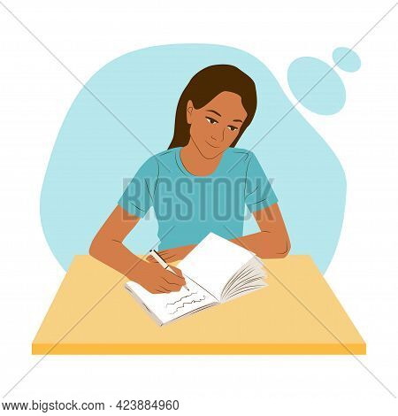 Woman Sitting At A Table Or Desk Thinking And Writes Notes In Her Diary Or Journal. Girl Work Or Stu