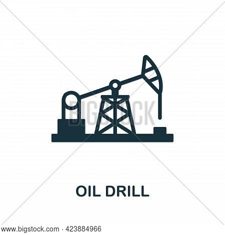 Oil Drill Icon. Monochrome Simple Element From Oil Industry Collection. Creative Oil Drill Icon For