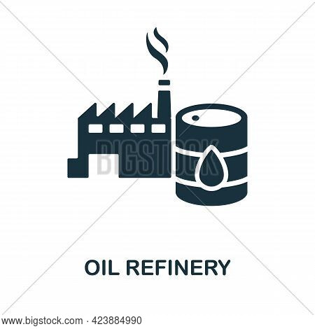 Oil Refinery Icon. Monochrome Simple Element From Oil Industry Collection. Creative Oil Refinery Ico