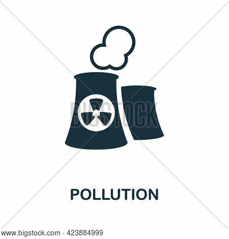 Pollution Icon. Monochrome Simple Element From Oil Industry Collection. Creative Pollution Icon For