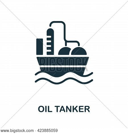 Oil Tanker Icon. Monochrome Simple Element From Oil Industry Collection. Creative Oil Tanker Icon Fo