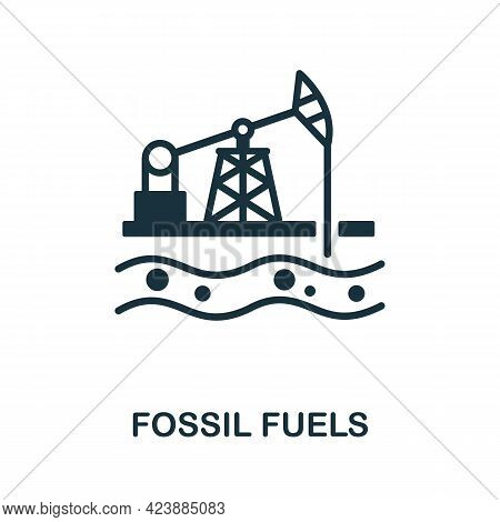 Fossil Fuels Icon. Monochrome Simple Element From Oil Industry Collection. Creative Fossil Fuels Ico
