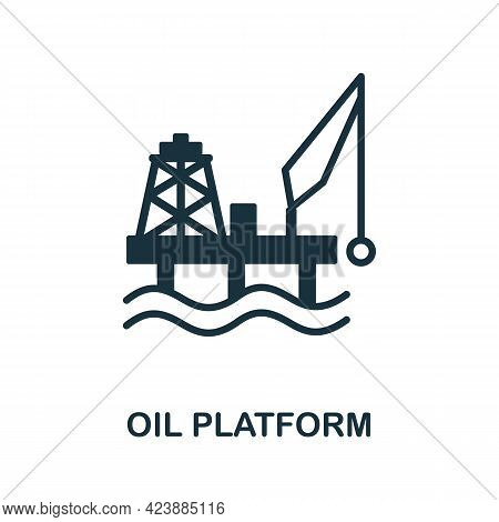 Oil Platform Icon. Monochrome Simple Element From Oil Industry Collection. Creative Oil Platform Ico