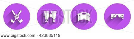 Set Crossed Golf Club With Ball, Binoculars, Sun Visor Cap And Glasses Icon With Long Shadow. Vector