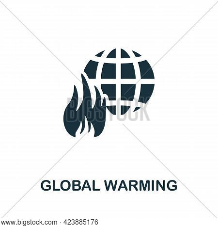 Global Warming Icon. Monochrome Simple Element From Oil Industry Collection. Creative Global Warming