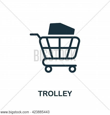 Trolley Icon. Monochrome Simple Element From Packaging Collection. Creative Trolley Icon For Web Des
