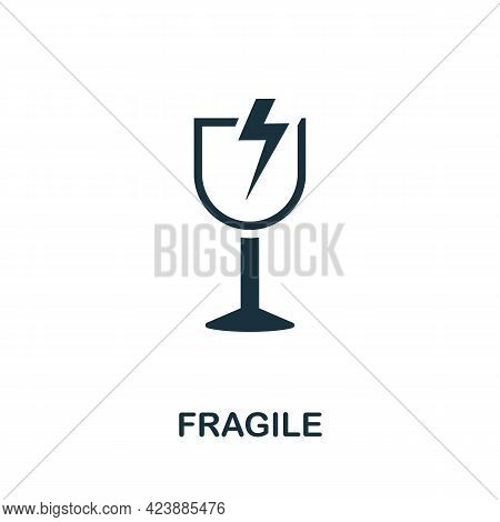 Fragile Icon. Monochrome Simple Element From Packaging Collection. Creative Fragile Icon For Web Des