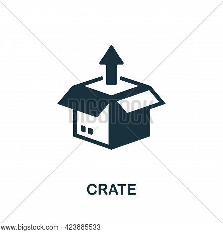 Crate Icon. Monochrome Simple Element From Packaging Collection. Creative Crate Icon For Web Design,