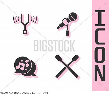 Set Drum Sticks, Musical Tuning Fork, Note, Tone And Microphone Icon. Vector