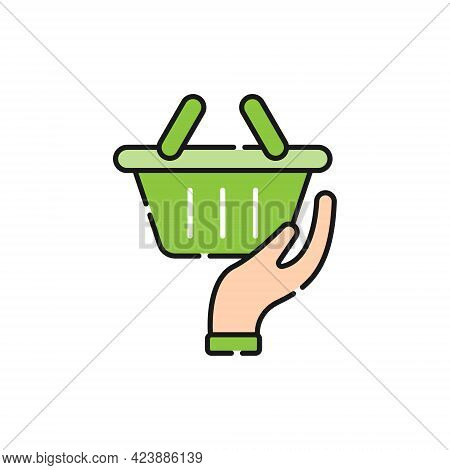 Shopping Cart with Hand icon. Shopping Cart icon. Shopping icon. Shopping Cart with Hand icon vector. Shopping cart icon set. Online Shop icon. Shopping Cart icon. Shopping Cart with Hand design for website, icon, logo, sign, symbol, app UI
