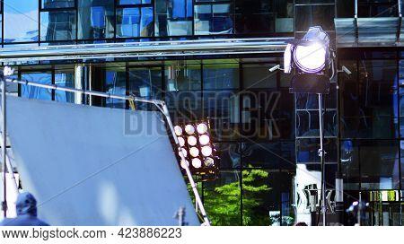High Powered Spotlight  Illuminating An Outdoor Movie Set