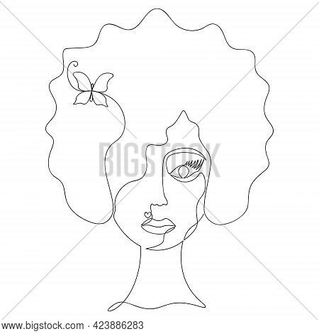 Woman's Face In One Line. Sketch. Vector Illustration. Curls On The Head. Hairpin In The Shape Of A