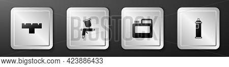 Set Marker Pen Attachment, Paint Spray Gun, Paint, Gouache, Jar, Dye And Can Icon. Silver Square But