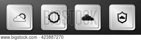 Set Sun And Cloud Weather, , Cloud And Weather Forecast Icon. Silver Square Button. Vector