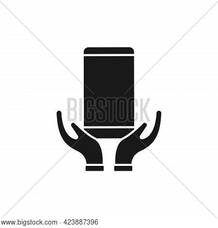 Mobile Phone with Hand icon. Mobile Phone icon. Phone icon. Mobile Phone vector. Mobile icon. Phone vector. Mobile Phone with Hand icon vector. Mobile Phone symbol. Mobile Phone with Hand icon vector design for web icon, logo, sign, symbol, app