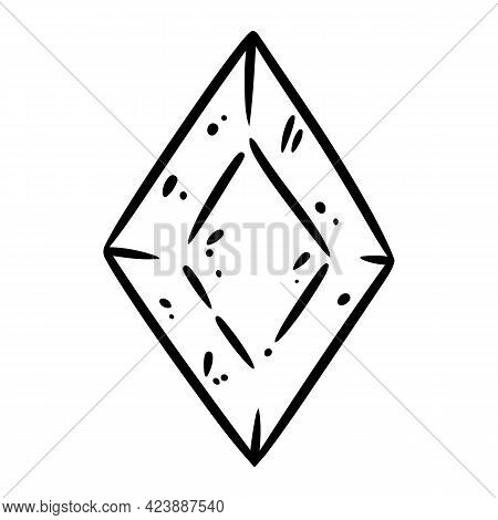 Quartz Cartoon Crystal Doodle Image. Crystal Logo. Media Highlights Graphic Icon