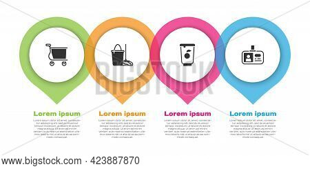 Set Shopping Cart, Mop And Bucket, Yogurt Container And Identification Badge. Business Infographic T