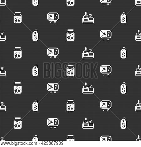 Set Cashier At Cash Register, Price Tag With Dollar, Jam Jar And Clock 24 Hours On Seamless Pattern.