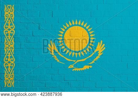 Flag Of Kazakhstan Brick Wall Texture Of The Flag Of Kazakhstan.