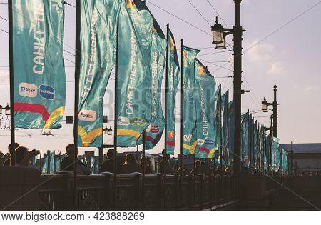 Saint-petersburg, Russia - June 12, 2021: Flags With The Symbols Of The Football Championship 'euro